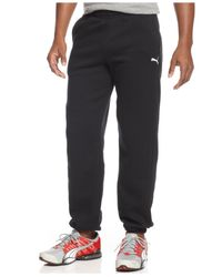 PUMA - Gray Men's Cuffed Fleece Drawstring Sweatpants for Men - Lyst