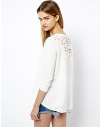 French Connection | White Grace Jumper with Lace Insert | Lyst