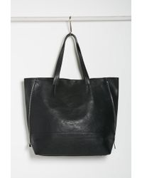Forever 21 - Black Zippered-side Faux Leather Tote - Lyst