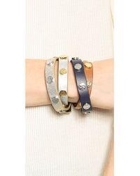 Tory Burch - Metallic Double Wrap Logo Stud Bracelet - Black/Shiny Gold/Tory Silver - Lyst