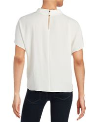 Vince Camuto | White Mockneck Short Sleeved Blouse | Lyst