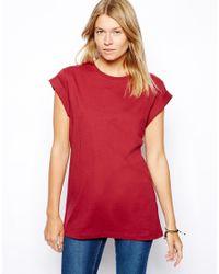 ASOS | Red Boyfriend Tshirt with Roll Sleeve | Lyst