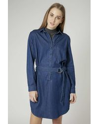 TOPSHOP | Blue Moto D-ring Shirt Dress | Lyst