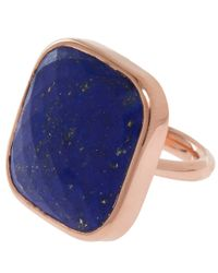 Monica Vinader - Blue Rose Gold-plated Lapis Square Facet Ring - Lyst