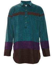 Kolor - Brown Colour Block Shirt for Men - Lyst