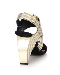 Ferragamo | Black Lenny Suede and Metallic-Leather Sandals | Lyst