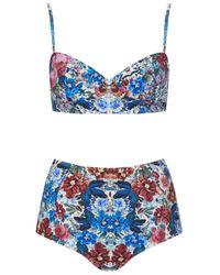TOPSHOP - Multicolor Mirror Floral Bikini Set - Lyst