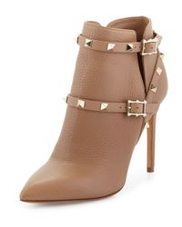 Valentino - Brown Rockstud Pebbled-Leather Ankle Boots - Lyst