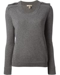 Burberry Brit - Gray Epaulette Sweater - Lyst