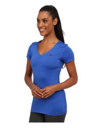 Nike | Blue Pro S/s V-neck Top | Lyst