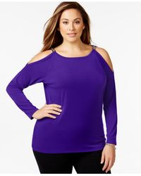 Michael Kors | Purple Michael Plus Size Cold Shoulder Chain-link Top | Lyst