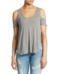 Guess - Gray Cold Shoulder Hi Lo Top - Lyst