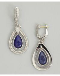 Judith Ripka - Blue Navy Sapphire 'marina' Teardrop Framed Earrings - Lyst
