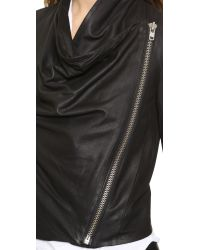 Helmut Lang - Drape Front Leather Jacket - Black - Lyst