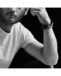 David Yurman - Chevron Triple-wrap Bracelet In Black Leather for Men - Lyst