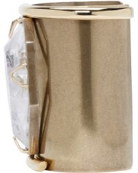 Lanvin - Metallic Brass And Crystal Asymmetric Cuff - Lyst