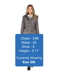 Sam Edelman | Gray Long 3/4 Down W/ Horizontal Quilting And Side Tab Detail Jacket | Lyst