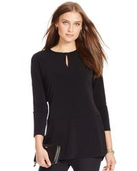 Lauren by Ralph Lauren | Black Split Neck Matte Jersey Top | Lyst