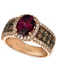 Le Vian | Purple Raspberry Rhodolite Garnet (1-7/8 Ct. Chocolate Diamond (3/4 Ct. T.w.) And White Diamond (3/8 Ct. T.w.) Oval In 14k Rose Gold | Lyst