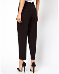 ASOS - Gray Smart Peg Trouser With Ruched Waist Detail - Lyst