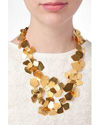 Herve Van Der Straeten   Metallic Hammered Gold-Plated Fleur Necklace   Lyst
