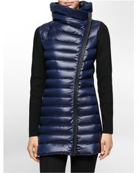 Calvin Klein | Blue White Label Performance Asymmetrical Rib Knit Down Puffer Jacket | Lyst