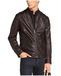 BOSS Orange | Brown Sheepskin Leather Jacket 'jelon' for Men | Lyst