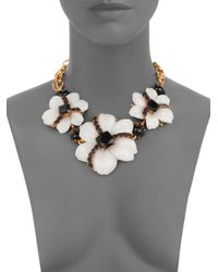 Oscar de la Renta | Black Jewel & Cabochon Flower Necklace | Lyst