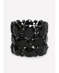Bebe - Black Tonal Stretch Bracelet - Lyst