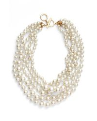Anne Klein | Metallic Multistrand Faux Pearl Necklace - Blanc Pearl | Lyst