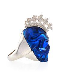 Alexander McQueen - Metallic Plexi Punk Skull Ring Bluesilvertone for Men - Lyst
