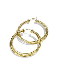 David Yurman | Metallic Crossover Hoop Earrings With Diamonds In Gold | Lyst