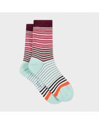 Paul Smith - Blue Women's Red And Mint Green 'mainline Stripe' Socks - Lyst