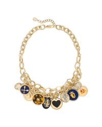 Tory Burch | Metallic Dellora Charm Short Necklace | Lyst
