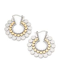 John Hardy | Metallic Dot 18k Yellow Gold & Sterling Silver Hoop Earrings/1.25 | Lyst