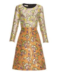 Marni | Orange Floral-Jacquard A-line Dress | Lyst