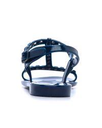 Rebecca Minkoff | Blue Sava Studded T Strap Jelly Sandals | Lyst