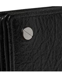 Balenciaga - Black Creased-Leather Cardholder for Men - Lyst