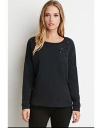 Forever 21 | Black Dolman-sleeve Distressed Sweatshirt | Lyst