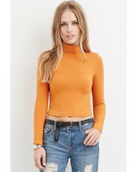 Forever 21 - Orange Turtleneck Crop Top - Lyst