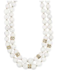 Anne Klein | White Gold-tone Two Row Collar Necklace | Lyst