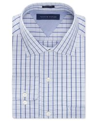 Tommy Hilfiger | Blue Easy Care Tonal Check Dress Shirt for Men | Lyst