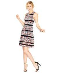 Jessica Simpson - Multicolor Floral-print Lace-stripe Dress - Lyst