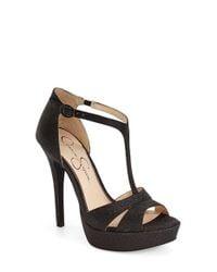 Jessica Simpson - Black 'Beryl' T-Strap Sandal - Lyst