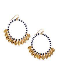 Tory Burch | Metallic Mikah Beaded Hoop Earrings | Lyst