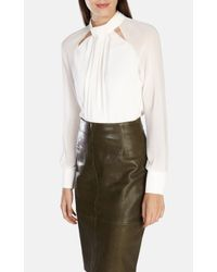 Karen Millen | White Draped High Neck Blouse | Lyst