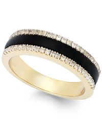Macy's | Metallic Diamond (1/5 Ct. T.w.) And Onyx Accent Ring In 14k Gold | Lyst
