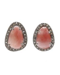 Adornia | Metallic Pink Sapphire And Champagne Diamond Willow Earrings | Lyst