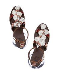 Tory Burch - Brown Weaver Tassel Flat Sandal - Lyst