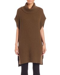 Theory - Green Boseley Fine Haven Wool/cashmere Turtleneck Poncho - Lyst